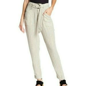Free People Emerson Utility Pant Linen Pinstripe